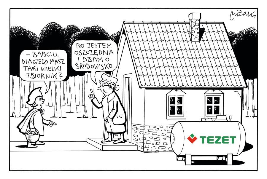 """Obrazek komiksowy przedstawiający Czerwonego kapturka pytającego babcię """"Dlaczego ma taki duży zbiornik"""""""