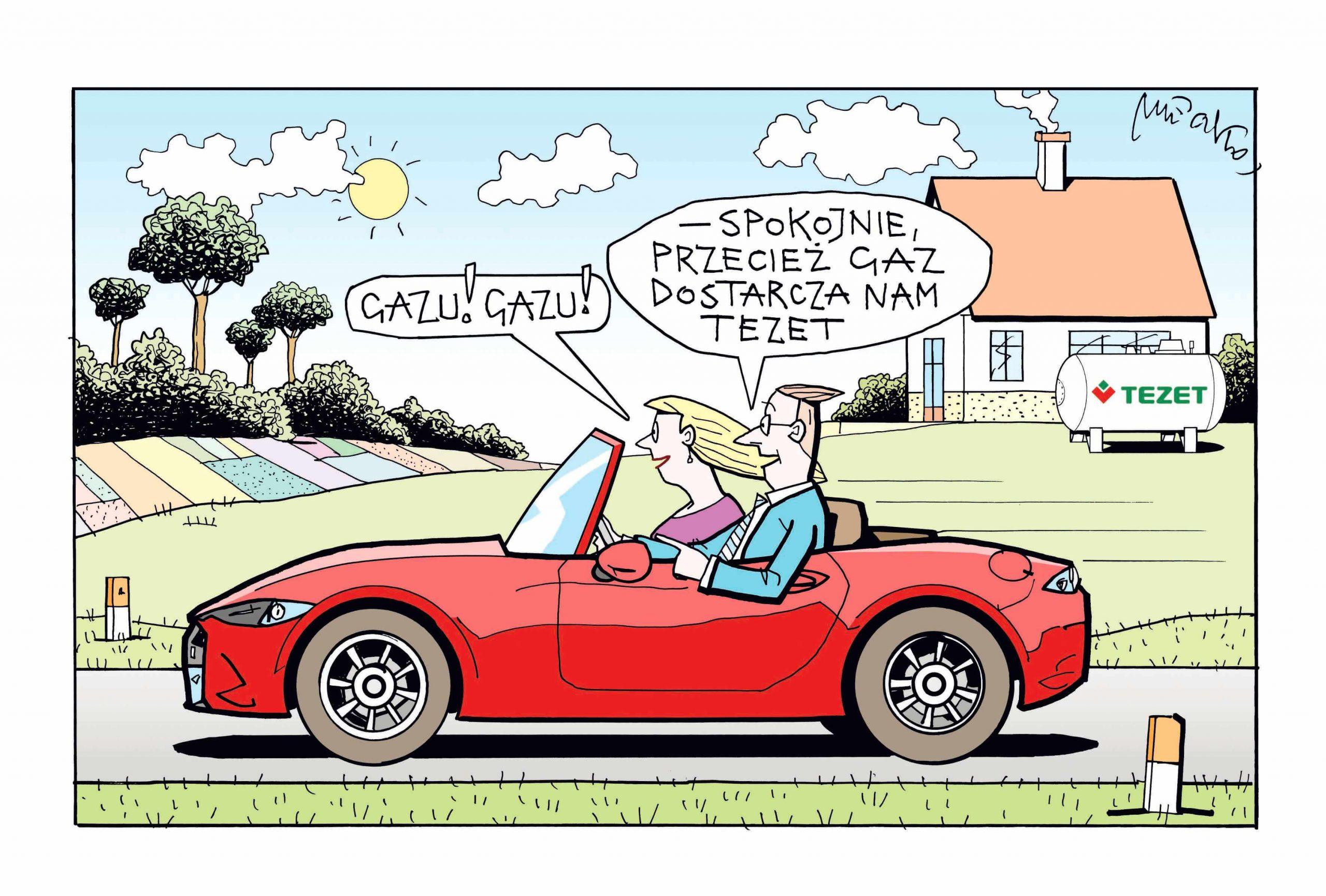 Obrazek komiksowy przedstawiający mężczyznę oraz kobietę jadącą samochodem