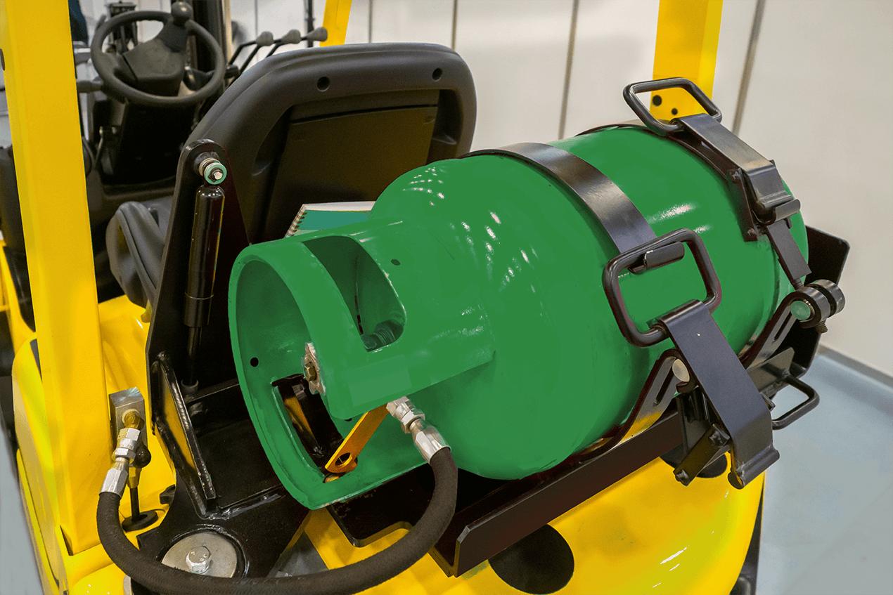 Butla z gazem na wózku widłowym