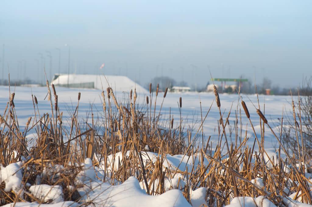 Ośnieżona łąka i stacja gazu w tle